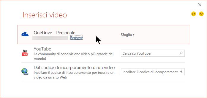 La finestra di dialogo Inserisci video include un'opzione per incorporare un video da OneDrive.