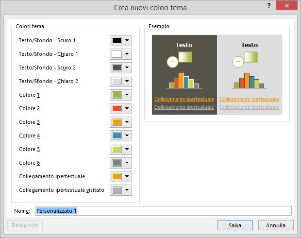 mostra finestra di dialogo per la creazione di un colore personalizzato per il tema in PowerPoint