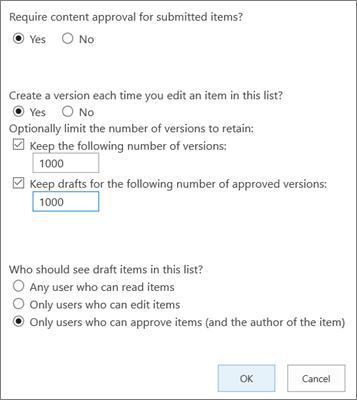 Opzioni di impostazioni elenco in SharePoint Online, con il controllo delle versioni abilitato