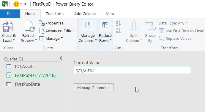 Editor di Power query che visualizza un parametro
