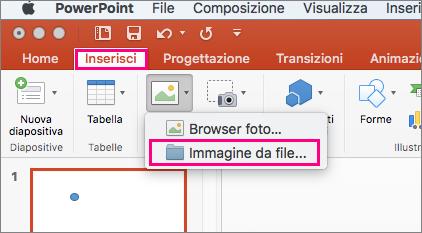 Comando Inserisci > Immagini > Immagine da file in PowerPoint 2016 per Mac