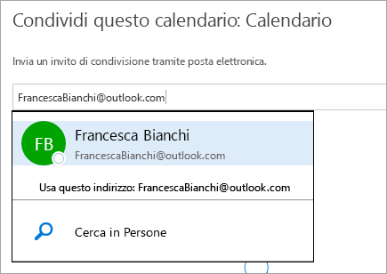 Screenshot della finestra di dialogo Condividi calendario in Outlook.com.