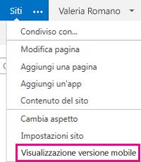 Menu Impostazioni in un sito di SharePoint nella visualizzazione PC