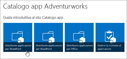 Riquadri della Guida introduttiva al sito del catalogo delle app con Distribuire applicazioni per SharePoint evidenziato.