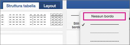 L'opzione Nessun bordo è evidenziata in Stile linea