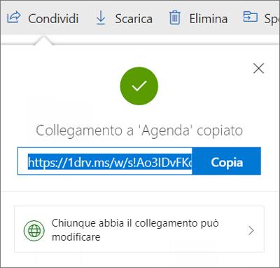 Conferma di Copia collegamento quando si condividono i file tramite collegamento in OneDrive