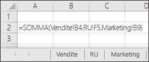 Riferimento della formula in più fogli di Excel