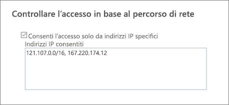 Opzione per il controllo dell'accesso nell'interfaccia di amministrazione di SharePoint