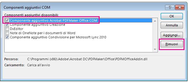 Selezionare la casella di controllo per il componente aggiuntivo Acrobat PDFMaker Office COM e fare clic su Rimuovi.