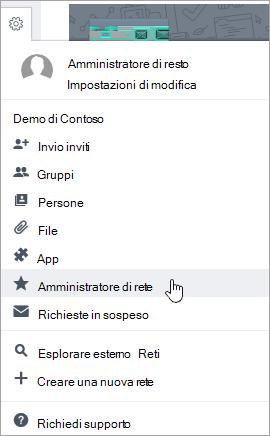 Screenshot del menu Impostazioni con l'opzione Amministratore di rete evidenziata