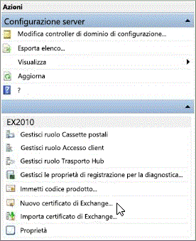 Select New Exchange Certificate in the Action pane.