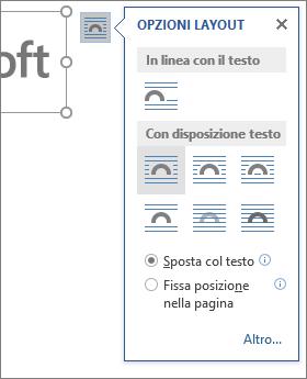 Fare clic su Opzioni layout per scegliere il modo in cui disporre il testo attorno all'immagine inserita.