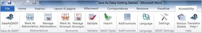 Scheda della barra multifunzione Save as DAISY Accessibility