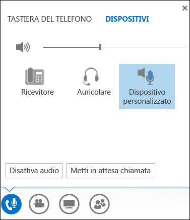 Accendere un dispositivo audio in Lync