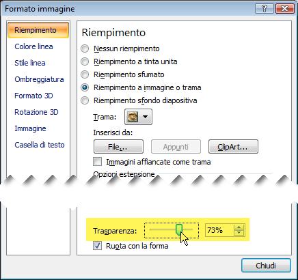Scorrere la barra Trasparenza verso destra per modificare l'immagine di sfondo