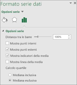 Riquadro attività Formato serie dati che mostra le opzioni del grafico Scatola e baffi in Office 2016 per Windows