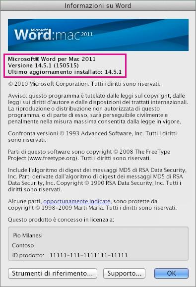 Word per Mac 2011 con la pagina Informazioni su Word