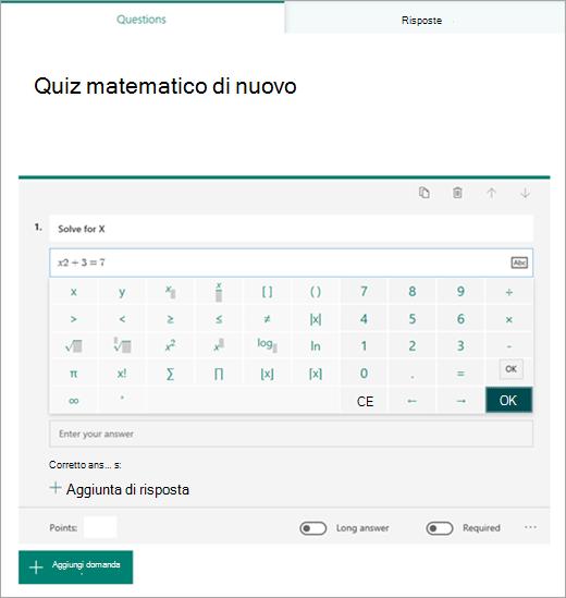 Selezione di formula simboli matematici