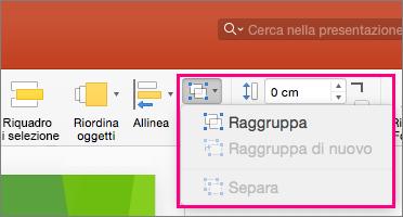 Icona Gruppo sulla barra multifunzione di PowerPoint 2016 per Mac