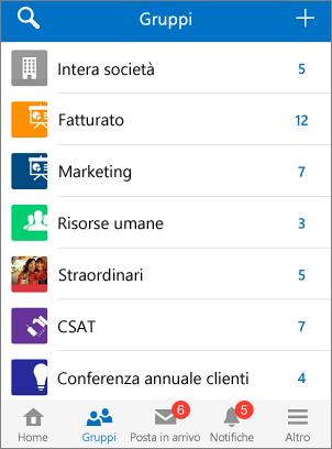 Cattura di schermata dei gruppi nell'app per dispositivi mobili Yammer
