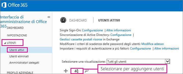 Immagine della sezione Utenti dell'interfaccia di amministrazione di Office 365
