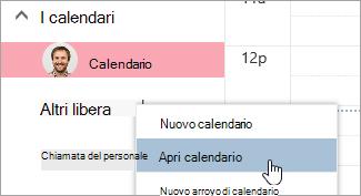 Screenshot dell'opzione Apri calendario