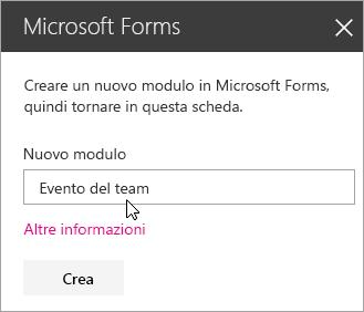 Riquadro della web part Microsoft Forms per un nuovo modulo.