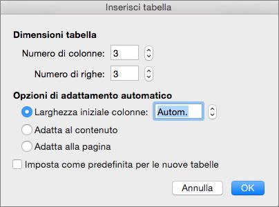 Mostra le impostazioni per la creazione di una tabella personalizzata