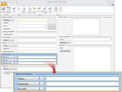 Schermata Layout maschera del contatto commerciale con la sezione Numeri telefonici selezionata.