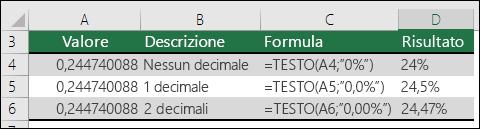 Codici formato per le percentuali