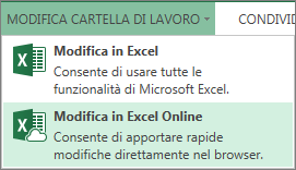 Comando Modifica in Excel Online nel menu Modifica cartella di lavoro