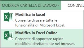 comando modifica in excel web app nel menu modifica cartella di lavoro