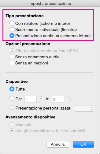 Opzioni per il tipo di presentazione