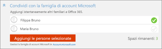 Primo piano della sezione Condividi con Microsoft Family della finestra di dialogo Aggiungi qualcuno, con il pulsante Aggiungi le persone selezionate.