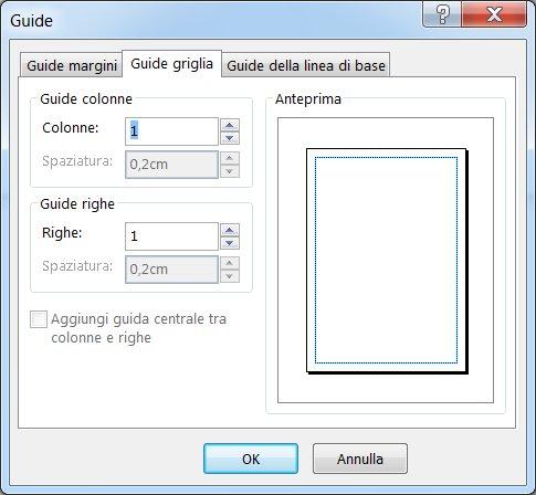 Finestra di dialogo Guide di Publisher con la scheda Guide griglia visualizzata