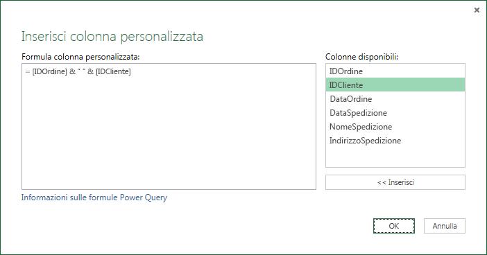 Specificare la formula della colonna personalizzata per eseguire il merge dei valori delle colonne