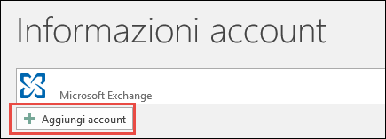 Aggiungi account in Outlook 2016