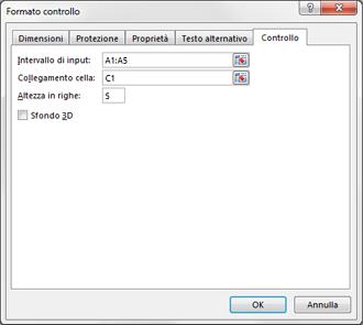 Finestra di dialogo Formato controllo