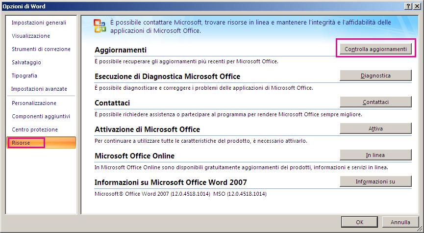 Verifica della presenza di aggiornamenti di Office in Word 2007