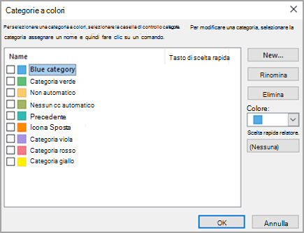 Finestra di dialogo Categorie a colori