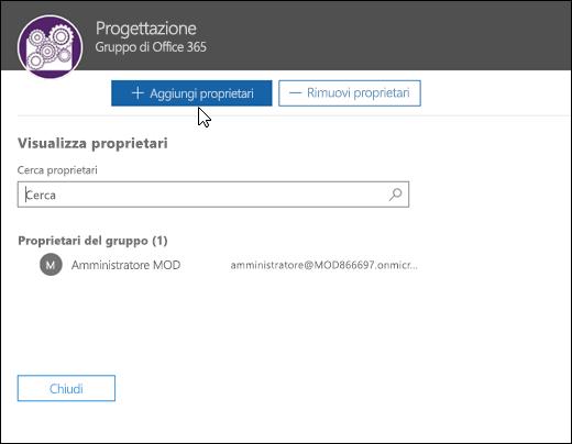Visualizzare e gestire i proprietari del gruppo nella finestra di dialogo Visualizza proprietari
