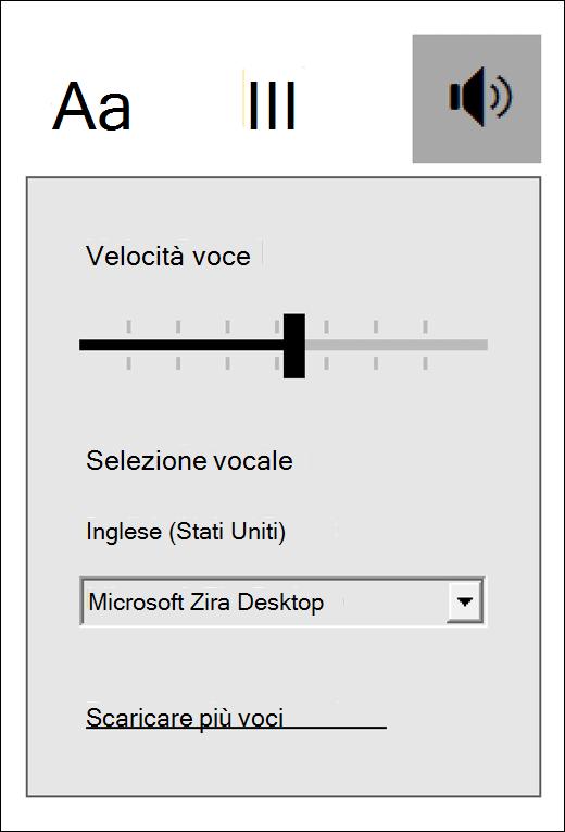 Menu dei controlli vocali nello strumento di lettura immersiva incluso in Strumenti di apprendimento per OneNote.