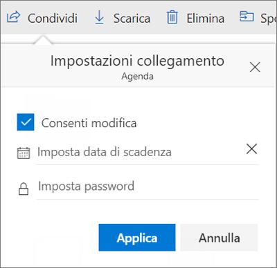 Opzioni di Impostazioni collegamento per la condivisione di un file in OneDrive