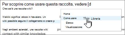 Inserimento di un collegamento in un Wiki
