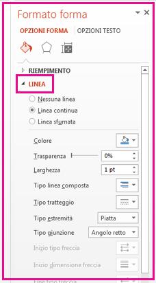 Nel pannello Formato forma, in Linea, formattare il bordo.