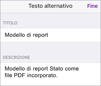 Aggiungere testo alternativo a un file incorporato in OneNote per iOS