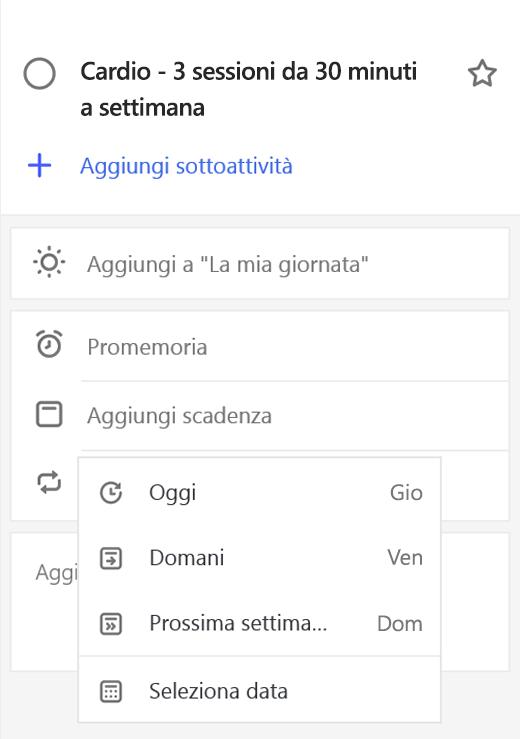 Screenshot che mostra la visualizzazione dettagli con l'opzione Aggiungi scadenza selezionata.