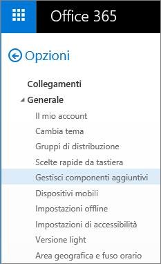 """Screenshot della sezione Generale del menu Opzioni in Outlook, con l'opzione """"Gestisci componenti aggiuntivi"""" evidenziata."""