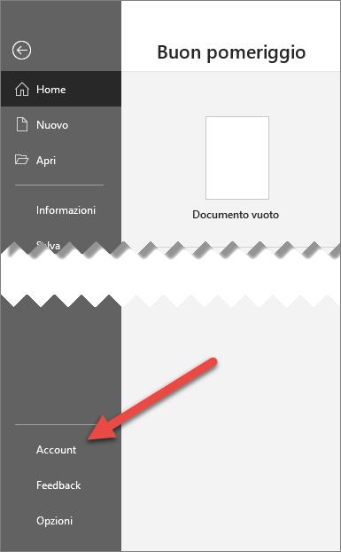 Scheda File in Office con una freccia che punta all'opzione Account