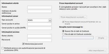 Immettere le impostazioni dell'account IMAP